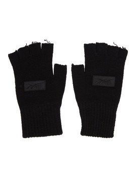 Black Wool Logo Fingerless Gloves by Reebok By Victoria Beckham