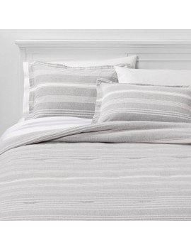 Classic Stripe Flannel Comforter & Pillow Sham Set Gray   Threshold™ by Shop This Collection