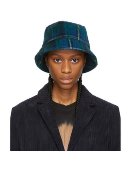 Green & Blue Mohair Bucket Hat by Ymc