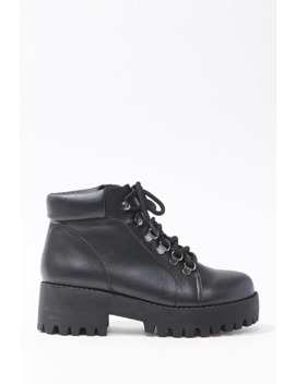 Faux Leather Platform Combat Boots by Forever 21