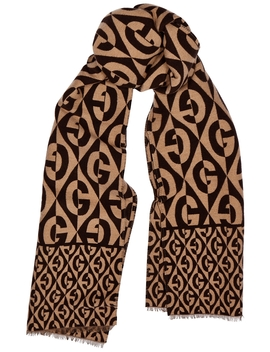 Gg Logo Jacquard Wool Blend Scarf by Gucci