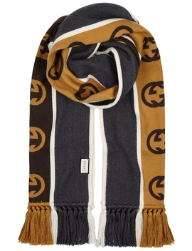 Gg Striped Wool Blend Scarf by Gucci