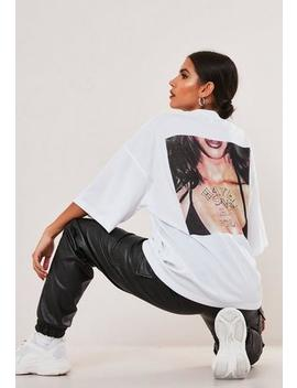 White Heaven Sent Graphic Back Oversized T Shirt by Missguided