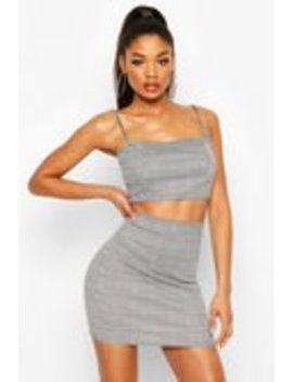 Dogtooth Check Strap Crop Mini Skirt Co Ord Set Dogtooth Check Strap Crop Mini Skirt Co Ord Set by Boohoo