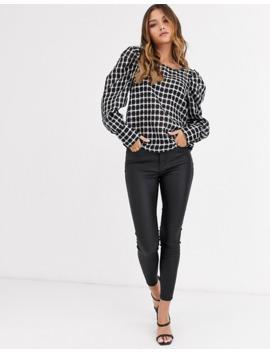 Vero Moda Puff Sleeve Checked Blouse by Vero Moda