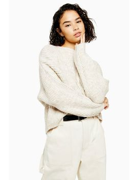 Petite Oatmeal Knitted Crew Neck Jumper by Topshop