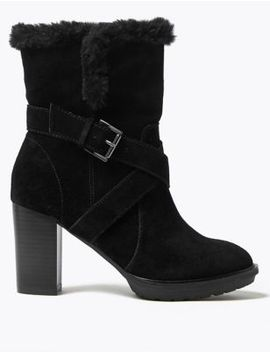 Suede Hiker Block Heel Ankle Boots by Marks & Spencer