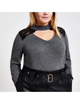 Plus Grey Lace Choker Neck Knitted Jumper by River Island