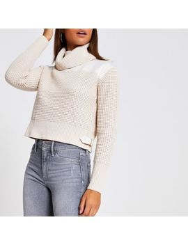 Beige Satin Roll Neck Knitted Crop Jumper by River Island