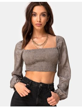 Elina Top In Satin Rose Silver Grey By Motel by Motel
