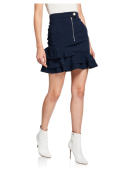 Ruffle Hem Zip Front Mini Skirt by Derek Lam 10 Crosby