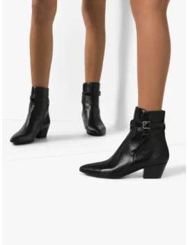 Black West Jodhpur 40 Leather Ankle Boots by Saint Laurent