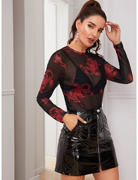 Dragon Print Sheer Mesh Top Without Bra by Shein