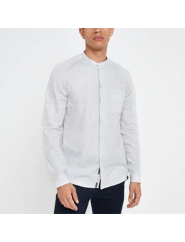 Grey Herringbone Grandad Long Sleeve Shirt by River Island