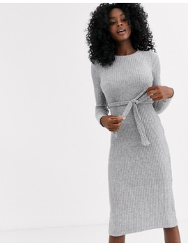 New Look Belted Midi Knitted Dress In Grey by New Look