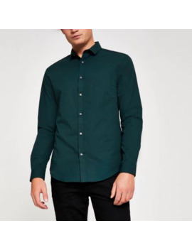 Dark Green Slim Fit Long Sleeve Shirt by River Island