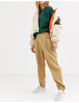 Pull&Amp;Bear Pleat Detail Trousers In Brown by Pull&Bear