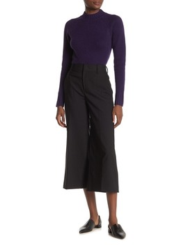 High Rise Cropped Wide Leg Wool Blend Pants by Vince