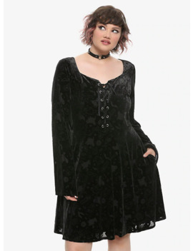 Her Universe Disney Hocus Pocus Icon Velvet Bell Sleeve Dress Plus Size by Hot Topic