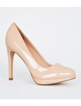 Nude Patent Platform Stiletto Court Shoes by New Look