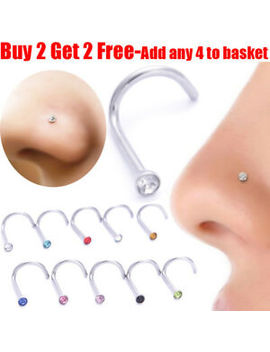 Nose Stud Pin Surgical Steel Small Gem Crystal Screw Nose Studs Piercing Pin by Ebay Seller