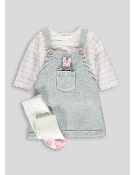 Girls Bunny Knitted Pinafore T Shirt & Tights Set (Newborn 18mths) by Matalan