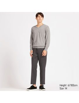 Men Ezy Jersey Houndstooth Printed Ankle Length Trousers by Uniqlo