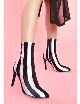 Ghoul Please Striped Booties by Sugar Thrillz