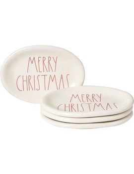 Rae Dunn Elongated Oval Merry Christmas Plates   4 Pack by Rae Dunn
