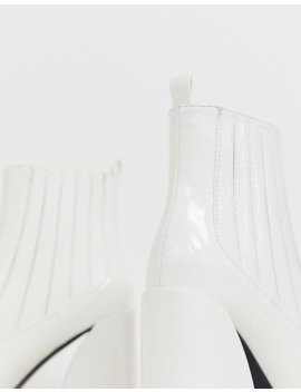 Z Code Z Exclusive Idaa White Patent Heeled Chelsea Boots by Z Code Z