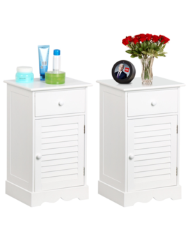 Set Of 2 Wooden Nightstands End Table Storage With Storage Drawer And Cupboard Units White by Yaheetech