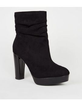 Wide Fit Black Suedette Slouch Heeled Calf Boots by New Look