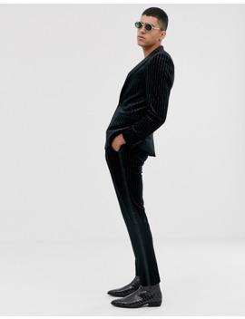 Asos Design Skinny Suit Trousers In Glitter Velvet Stripe by Asos Design