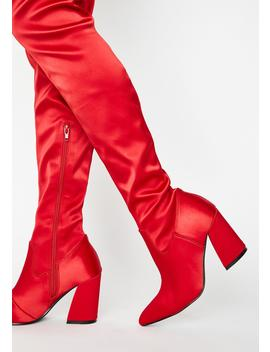 Bleeding Hearts Satin Boots by Current Mood