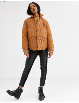 Mango Quilt Detail Padded Jacket In Brown by Mango