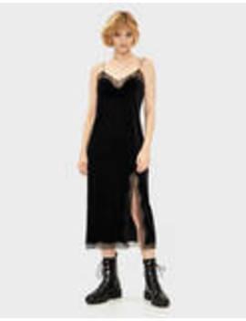 Vestido De Veludo Com Renda by Bershka