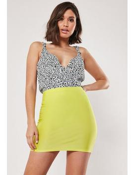 Lime Slinky Bodycon Mini Skirt by Missguided