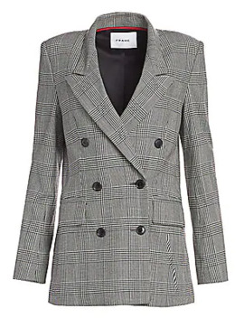 Double Breasted Houndstooth Plaid Blazer by Frame