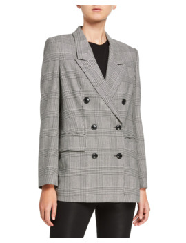 Glen Plaid Double Breasted Blazer by Frame