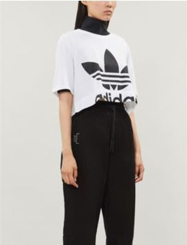 Trefoil Logo Print Cropped Cotton Jersey T Shirt by Adidas Originals