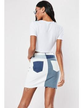 Blue Patchwork A Line Denim Mini Skirt by Missguided