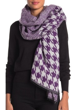 Patchwork Houndstooth Woven Wrap Scarf by Michael Kors