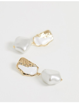 River Island Textured Enamel Earrings With Pearl Drop In Gold by River Island