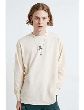 Uo Embroidered Ecru Long Sleeve T Shirt by Urban Outfitters