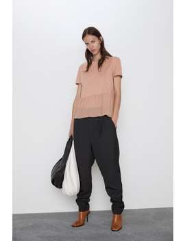 Combined Pleated T Shirt by Zara