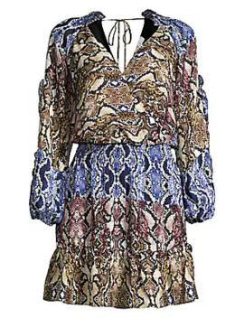 Gladis Colorblock Snake Print Blouson Dress by Parker
