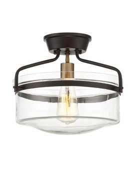 1 Light Oiled Rubbed Bronze With Brass Accents Semi Flush Mount by Online