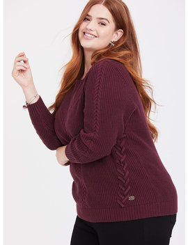 Outlander Burgundy Purple Cable Knit Lace Up Sweater by Torrid