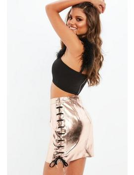 Rose Gold Chunky Lace Up Metallic Mini Skirt by Missguided