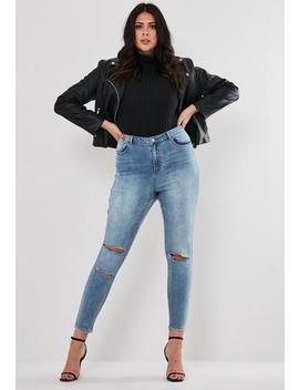 Plus Size Blue Sinner Ripped Jeans by Missguided
